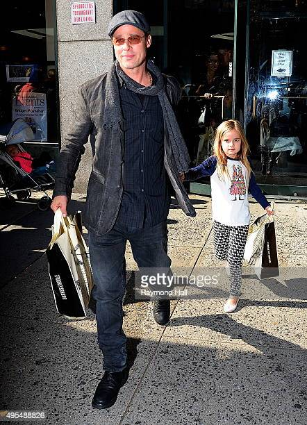 Actor Brad Pitt and Vivienne JoliePitt is seen coming of 'Barnes Noble in Midtownon November 3 2015 in New York City