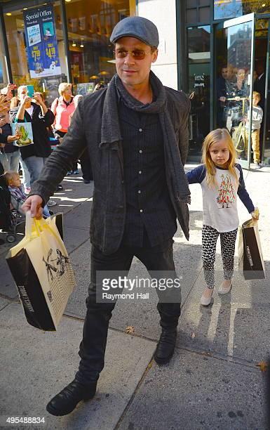 Actor Brad Pitt and Vivienne JoliePitt is seen coming of Barnes Noble in Midtownon November 3 2015 in New York City