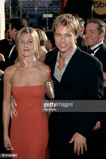 Actor Brad Pitt and wife actress Jennifer Aniston arrive at the 52nd Primetime Emmy Awards on September 10 2000 at the Shrine Auditorium in Los...