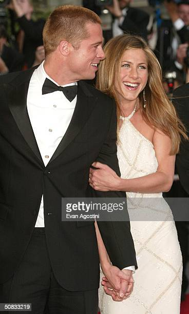 """Actor Brad Pitt and wife actress Jennifer Aniston attend the World Premiere of the epic movie """"Troy"""" at Le Palais de Festival on May 13, 2004 in..."""