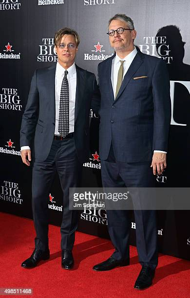 """Actor Brad Pitt and writer/director Adam McKay attend the """"The Big Short"""" New York premiere at Ziegfeld Theater on November 23, 2015 in New York City."""