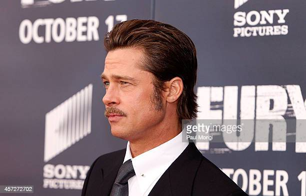 Actor Brad Pitt arrives at the Fury Washington DC Premiere at The Newseum on October 15 2014 in Washington DC