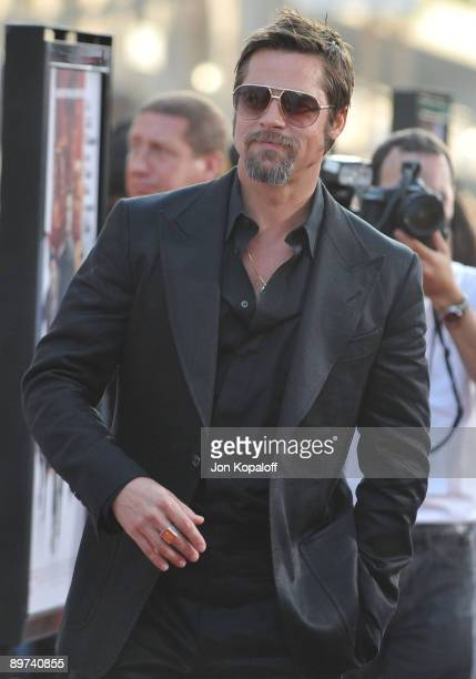 Actor Brad Pitt arrives at the Los Angeles Premiere Inglourious Basterds at Grauman's Chinese Theatre on August 10 2009 in Hollywood California