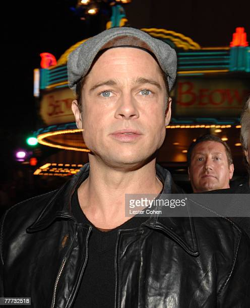 Actor Brad Pitt arrives at the Los Angeles Premiere of Beowulf at Westwood Village on November 5 2007 in Weswood California