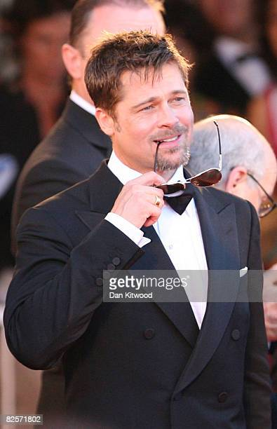 Actor Brad Pitt arrives at the opening ceremony and 'Burn After Reading' Premiere during the 65th Venice Film Festival at Sala Grande on August 27...