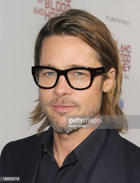 Actor Brad Pitt arrives at the premiere of FilmDistrict's 'In the Land of Blood and Honey' held at ArcLight Cinemas on December 8 2011 in Hollywood...