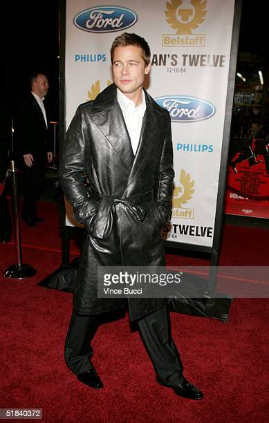 Actor Brad Pitt arrives at the Warner Bros premiere of the film Ocean's Twelve at Grauman's Chinese Theatre December 8 2004 in Hollywood California