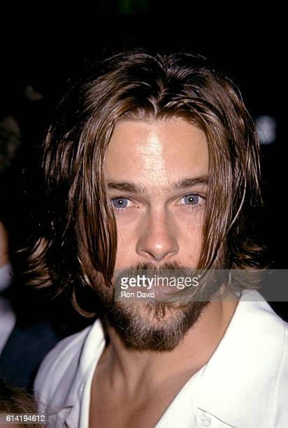 Actor Brad Pitt arrives before the Beverly Hills Premiere of 'Johnny Suede' at Laemille's Fine Arts Theater on August 19 1992 in Beverly Hills...
