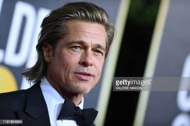 TOPSHOT US actor Brad Pitt arrives for the 77th annual Golden Globe Awards on January 5 at The Beverly Hilton hotel in Beverly Hills California