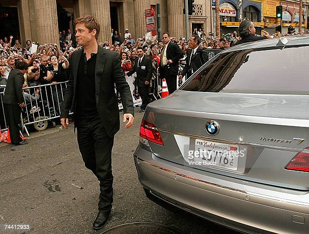Actor Brad Pitt arrives in a BMW H7 to the Warner Bros premiere of the film 'Ocean's 13' at Grauman's Chinese Theatre on June 5 2007 in Hollywood...