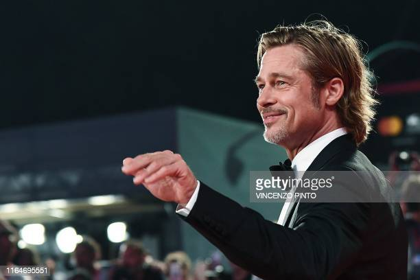 US actor Brad Pitt arrives on August 29 2019 for the screening of the film Ad Astra during the 76th Venice Film Festival at Venice Lido