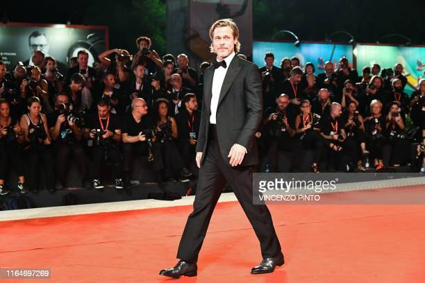 TOPSHOT US actor Brad Pitt arrives on August 29 2019 for the screening of the film Ad Astra during the 76th Venice Film Festival at Venice Lido