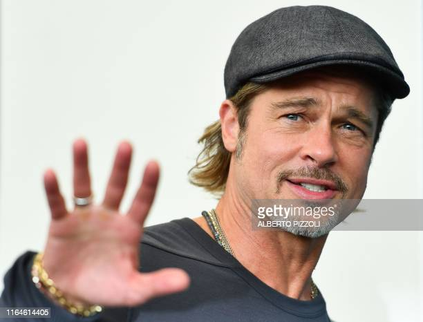 TOPSHOT US actor Brad Pitt arrives to attend a photocall on August 29 2019 for the film Ad Astra during the 76th Venice Film Festival at Venice Lido