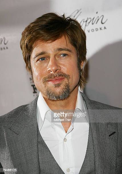 Actor Brad Pitt arrives to the Tribute to Angelina Jolie at 2008 Santa Barbara Film Festival held at the Arlington Theatre on February 2 2008 in...