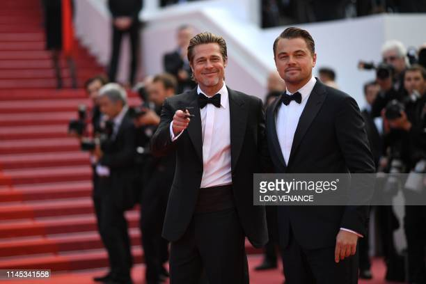 TOPSHOT US actor Brad Pitt arrives with US actor Leonardo DiCaprio for the screening of the film Once Upon a Time in Hollywood at the 72nd edition of...