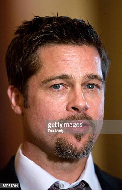 Actor Brad Pitt at the Make it Right project press conference in the Speaker's Balcony Hallway in The Capital on March 5 2009 in Washington DC