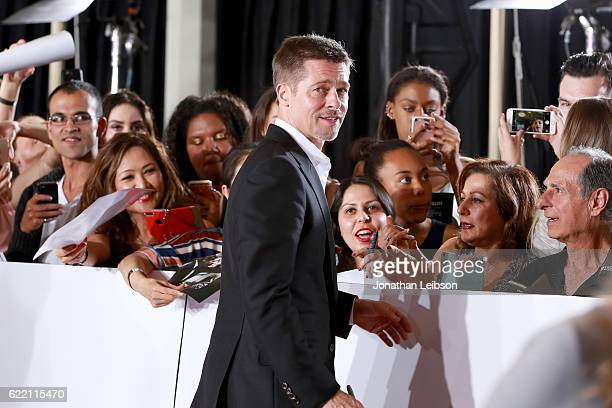 Actor Brad Pitt attends a LA Fan event for the Paramount Pictures title Allied at Regency Village Theatre on November 9 2016 in Westwood California