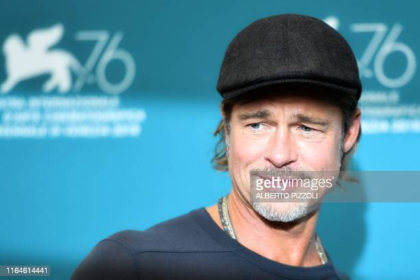 US actor Brad Pitt attends a photocall on August 29 2019 for the film Ad Astra during the 76th Venice Film Festival at Venice Lido