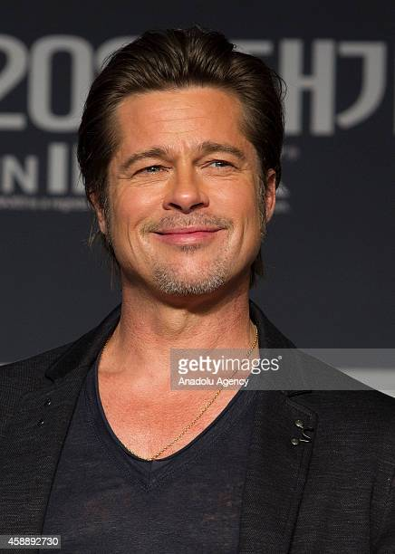 US actor Brad Pitt attends a press conference to promote his latest film 'Fury' at Conrad hotel on November 13 2014 in Seoul South Korea