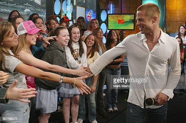 Actor Brad Pitt attends MTV's TRL for the first time at the MTV Time Square Studio May 3 2004 in New York City