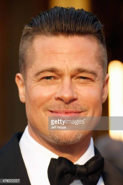 Actor Brad Pitt attends the 86th Oscars held at Hollywood Highland Center on March 2 2014 in Hollywood California