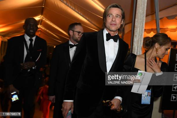 US actor Brad Pitt attends the 92nd Oscars Governors Ball at the Hollywood Highland Center in Hollywood California on February 9 2020