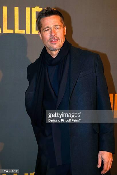 Actor Brad Pitt attends the Allied Allies Paris Premiere at Cinema UGC Normandie on November 20 2016 in Paris France