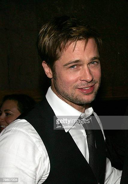 Actor Brad Pitt attends The Assassination of Jesse James by the Coward Robert Ford Premiere After Party at Guastavino's on September18 2007 in New...