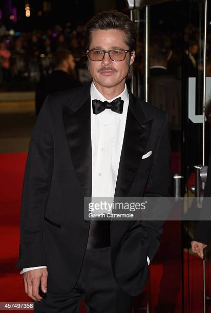 Actor Brad Pitt attends the closing night European Premiere gala red carpet arrivals for Fury during the 58th BFI London Film Festival at Odeon...