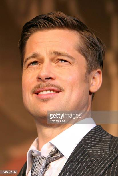 Actor Brad Pitt attends 'The Curious Case of Benjamin Button' Japan Premiere at Roppongi Hills on January 29 2009 in Tokyo Japan The film will open...