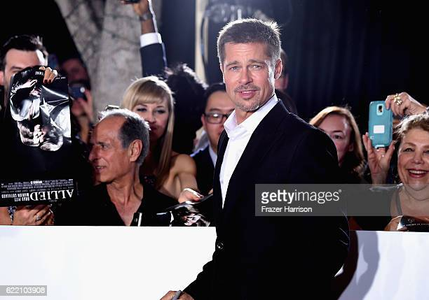 Actor Brad Pitt attends the fan event for Paramount Pictures' 'Allied' at Regency Village Theatre on November 9 2016 in Westwood California