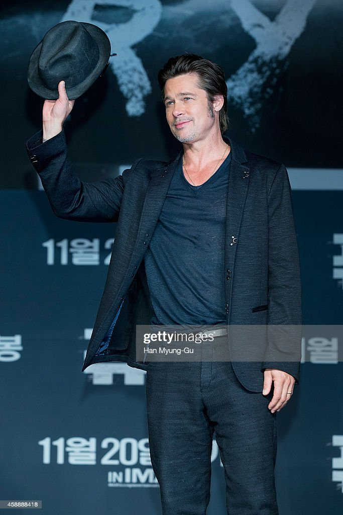 Actor Brad Pitt attends the 'Fury' press conference at Conrad Hotel on November 13, 2014 in Seoul, South Korea. The film will open on November 20, in South Korea.