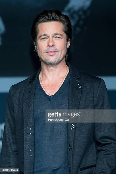 Actor Brad Pitt attends the 'Fury' press conference at Conrad Hotel on November 13 2014 in Seoul South Korea The film will open on November 20 in...