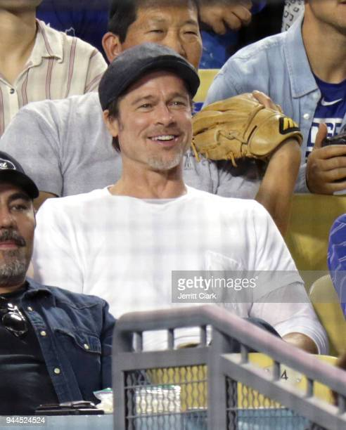 Actor Brad Pitt attends The Los Angeles Dodgers Game at Dodger Stadium on April 10 2018 in Los Angeles California