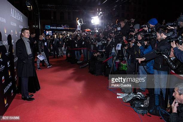 Actor Brad Pitt attends the Madrid premiere of the Paramount Pictures title 'Allied' at Callao City Lights on November 22 2016 in Madrid Spain