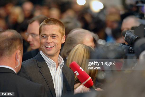 Actor Brad Pitt attends the official European premiere of longawaited epic film Troy at the Cinestar Cinema Potsdamer Square May 9 2004 in Berlin...