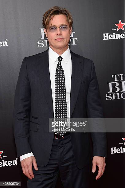 """Actor Brad Pitt attends the premiere of """"The Big Short"""" at Ziegfeld Theatre on November 23, 2015 in New York City."""
