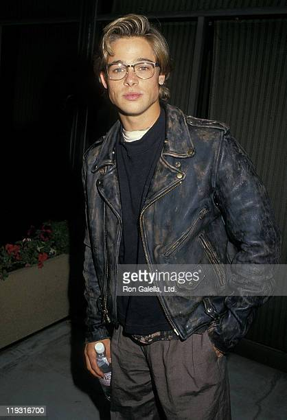 """Actor Brad Pitt attends the """"Red Heat"""" Beverly Hills Premiere on June 14, 1988 at the Academy Theatre in Beverly Hills, California."""