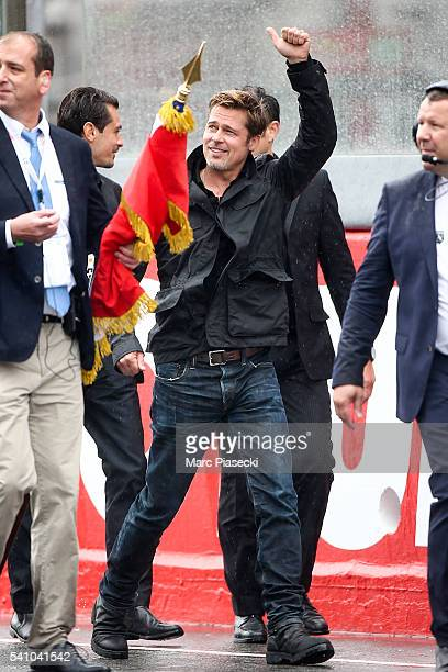 US actor Brad Pitt attends the start of the 84th Le Mans 24hours endurance race on June 18 2016 in Le Mans France