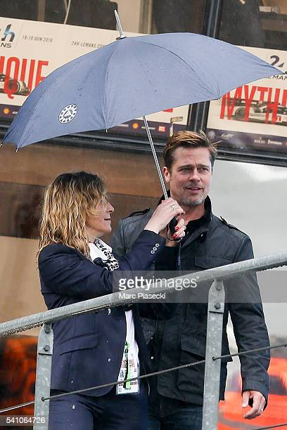 Actor Brad Pitt attends the start of the 84th Le Mans 24hours endurance race on June 18 2016 in Le Mans France