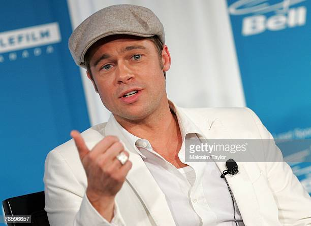 Actor Brad Pitt attends the The Assassination of Jesse James by the Coward Robert Ford press conference during the Toronto International Film...