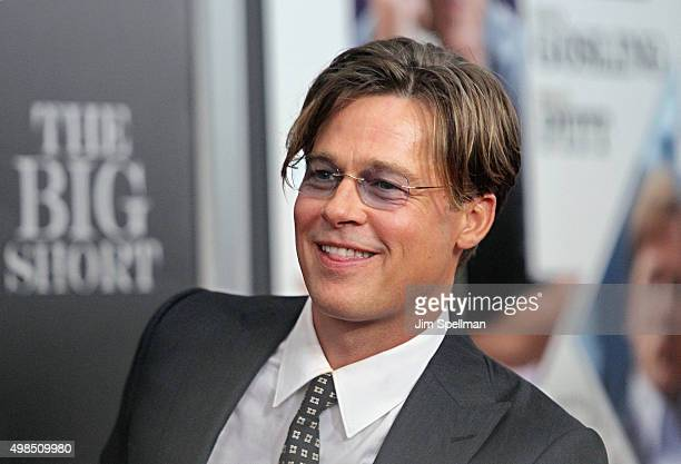 Actor Brad Pitt attends the The Big Short New York premiere at Ziegfeld Theater on November 23 2015 in New York City