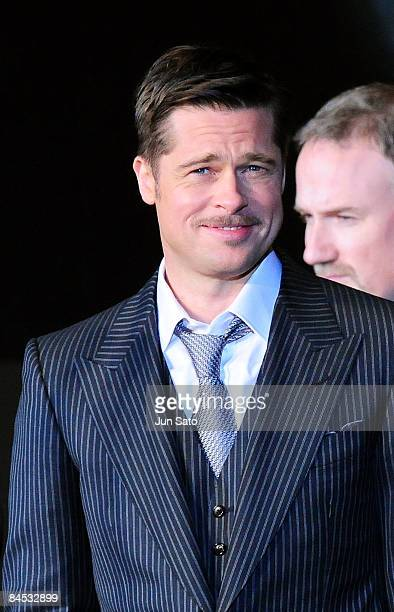 Actor Brad Pitt attends the The Curious Case of Benjamin Button Japan Premiere at Roppongi Hills arena on January 29 2009 in Tokyo Japan The film...
