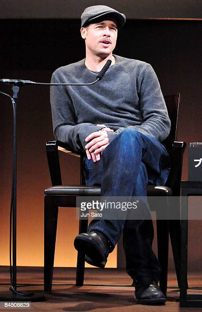 """Actor Brad Pitt attends the """"The Curious Case of Benjamin Button"""" press conference at Grand Hyatt Tokyo on January 28, 2009 in Tokyo, Japan. The film..."""