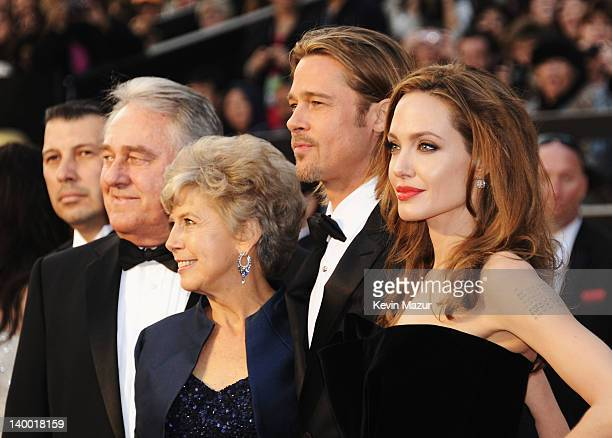Actor Brad Pitt father William Alvin Pitt mother Jane Pitt and actress Angelina Jolie arrive at the 84th Annual Academy Awards held at the Hollywood...