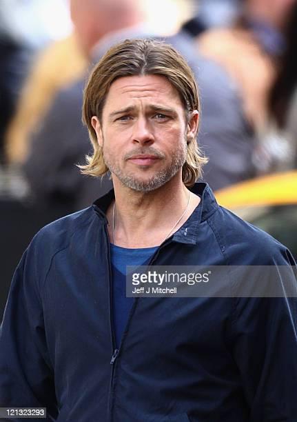 Actor Brad Pitt films a scene from 'World War Z' in Glasgow City centre on August 18 2011 in Glasgow Scotland The film which is set in Philadelphia...
