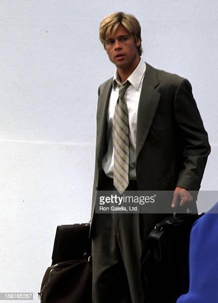 Actor Brad Pitt films 'Meet Joe Black' on June 14 1997 at 23rd Street and Lexington Avenue in New York City