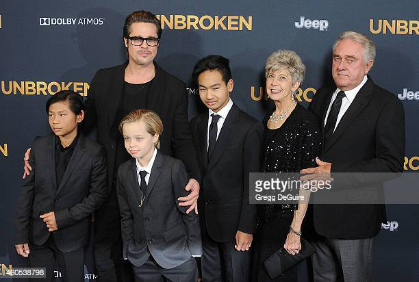 Actor Brad Pitt kids Maddox JoliePitt Shiloh JoliePitt Pax JoliePitt arrive at the Los Angeles premiere of Unbroken at The Dolby Theatre on December...