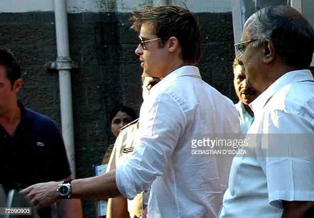 US actor Brad Pitt leaves after a meeting with the Mumbai Police Chief regarding the arrest of the bodyguards of wife and film actress Angelina Jolie...
