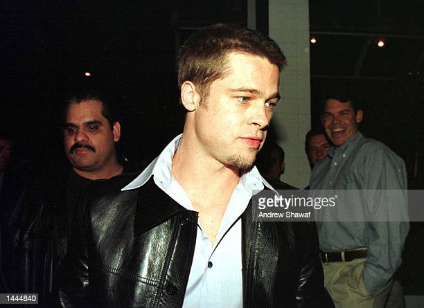 Actor Brad Pitt leaves The Barfly nightclub where he threw a big birthday party for her February 6 1999 in Los Angeles On July 29 the couple tied the...